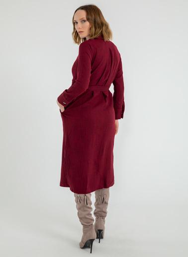 Foremia Yanı Yırtmaçlı Ceket Yaka Elbise Bordo